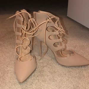 Lace up nude pumps